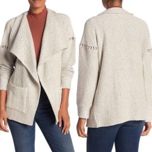 Lucky brand Marled Draped Open Front Cardigan